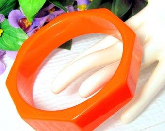 """Reserved for Patty Vintage BRIGHT ORANGE OCTAGON Lucite Bangle Bracelet Mod Modern Large 3"""""""