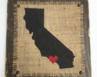 CALIFORNIA burlap wood state sign, los angeles or other city can be located with heart over, rustic, primitive, Other States Available