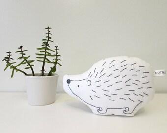 hedgehog pillow, hedgehog cushion, plush hedgehog, shaped pillow, woodland decor