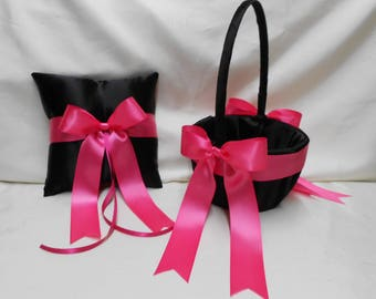 Wedding Accessories Black Fuchsia Hot Pink Flower Girl Basket Ring Bearer Pillow  Your Colors Weddingsbyminali