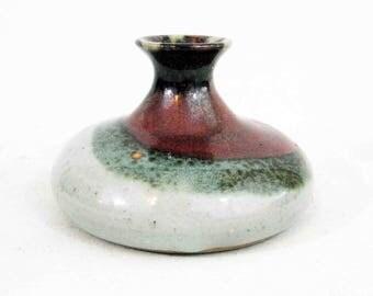 Vintage Mid Century Stoneware Studio Pottery Vase, Weed Pot, signed Biggins. Circa 1970's.