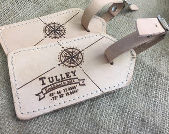 Wedding Anniversary Gift, Leather Luggage Tags with Last Name and Geographical Coordinates, 3rd Wedding Anniversary, Custom Luggage Tag