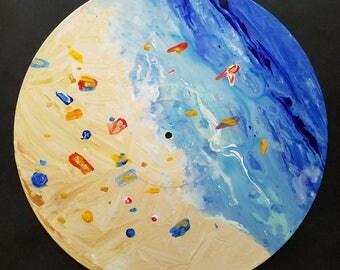 Day At The Beach  - Original Abstract Beach Ocean Landscape Art on Vinyl Record by Mr Mizu