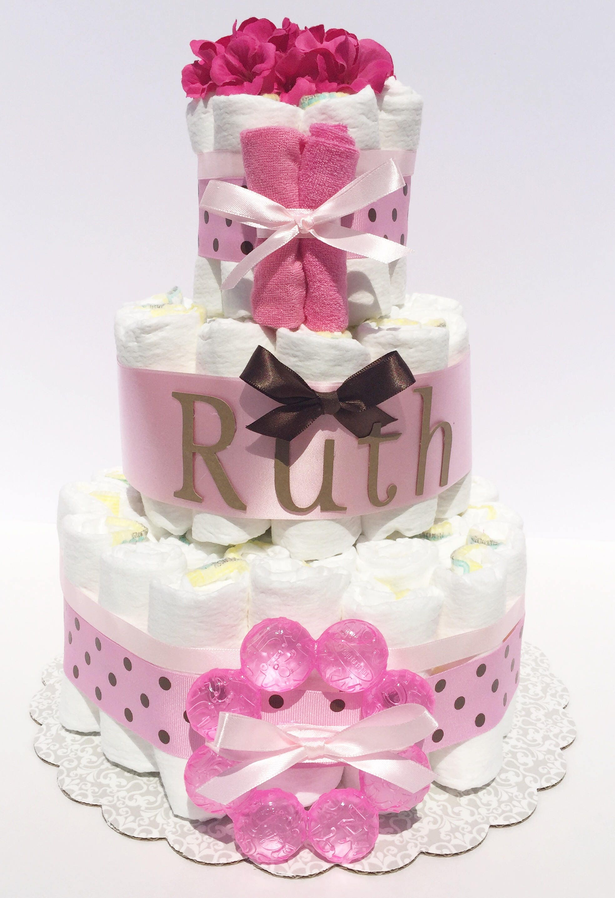 Girl Diaper cakes for baby showers diaper cake ts Pink and