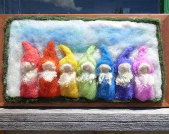 Rainbow wool gnomes - needle felted  - wooden frame - Waldorf inspired  - New Zealand wool - Nice birthday gift - Waldorf