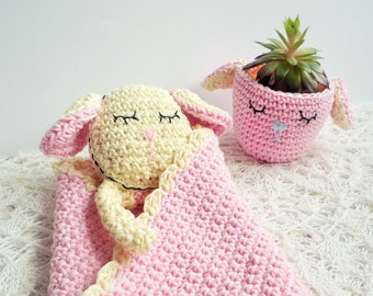 Sheep Baby Blanket - Sheep Baby Lovey - Lamb Security Blanket - Crochet Lamb Blanket - Crochet Sheep Blanket - Baby Shower Gift - Baby Girl