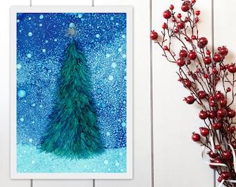 Christmas Tree Printable Art, Christmas Printable Wall Art, Alcohol Ink Christmas Tree, Christmas Decor Instant Download, A4 8x11 9x12 print