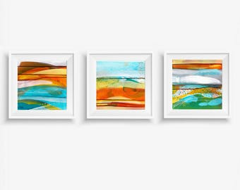 Abstract Triptych Art Prints, Set of 3 Digital Prints, Abstract Printable Art, Square Prints, Turquoise Teal Yellow Orange White