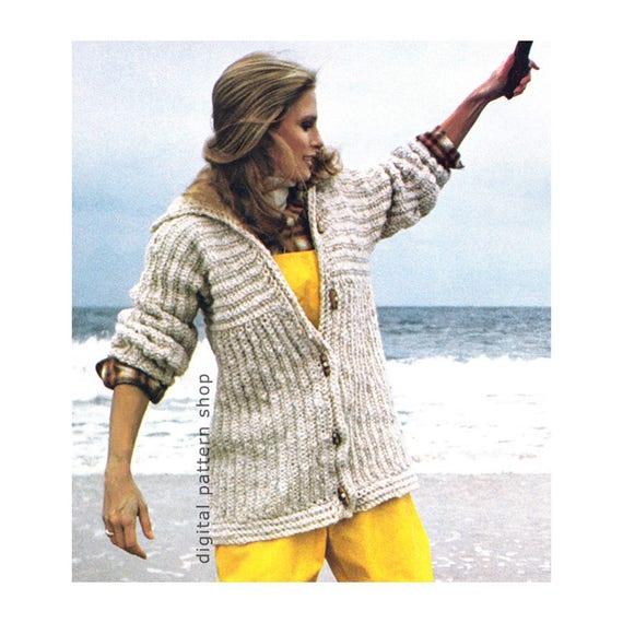 Bulky Hooded Sweater Crochet Pattern Oversize Jacket Womens Instant Download PDF