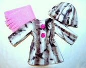 """Jacket Hat Scarf for 14"""" Wellie Wishers or Melissa & Doug Doll Clothes birch tkct1203 long fleece coat handmade READY TO SHIP"""