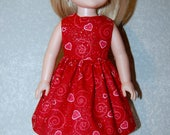 "Dress for 14"" Wellie Wishers or Melissa & Doug Doll Clothes Pink Red sparkle swirl hearts Valentines day  tkct1208 READY TO SHIP"
