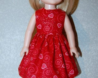 """Dress for 14"""" Wellie Wishers or Melissa & Doug Doll Clothes Pink Red sparkle swirl hearts Valentines day  tkct1208 READY TO SHIP"""