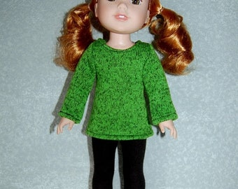 """Spring Sale Top and Pants for 14"""" Wellie Wishers or Melissa & Doug Doll Clothes Green fleece Sweater Knit top Black Pants  tkct1158 READY TO"""