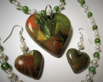 Nature's Heart - Necklace Pendant and Earrings SET