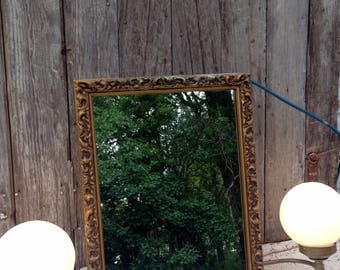 Vintage Gold Mirror Recessed Medicine Cabinet/Light Art Deco Hollywood Regency