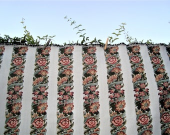 Woven Floral Striped Tapestry Fabric 2.9 Yards x 52""