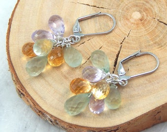 Semi Precious Gemstone Earrings, Chaindelier Earrings,Sterling Silver