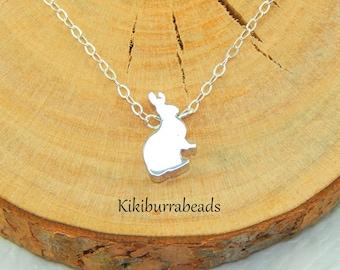 Rabbit Necklace,Silver Rabbit Necklace,Bunny Necklace,Rabbit Lover Necklace,Pet Jewelry,Rabbit Charm Necklace,Rabbit Owner Necklace