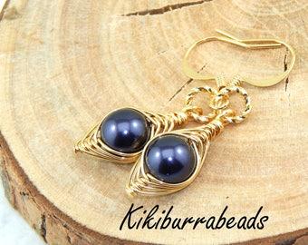 Pea Pod Earrings, one pea in a pod earrings,Gold Pea Pod Earrings,Pea Pod Jewelry,Choose Your Color Pearl And Metal