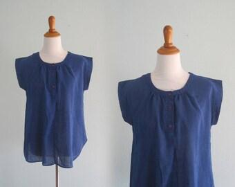 60s Peasant Top - Vintage Indigo Blue Peasant Blouse - Cute 60s Blue Blouse by Mister Marty - Vintage 1960s Top M