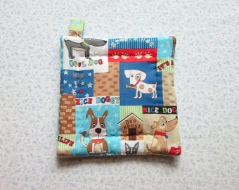 its a dogs life hand quilted insulated potholder with loop to hang