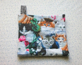 cats kittens in colorful garden hand quilted insulated potholder with loop to hang