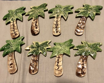 Set of 8 Herb Spice Palm Tree Markers