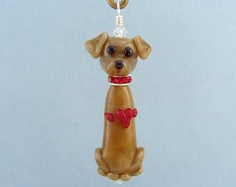 Valentine Labrador Retriever - Ornament or Pendant - Lampwork Glass Bead