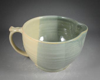 Batter Bowl in  Light Shino and Desert Sage Green Glaze- thrown on potter's wheel with handle and spout