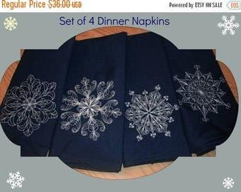 ON SALE Snowflake Dinner Napkins set of 4 Embroidered Christmas Cloth Napkins