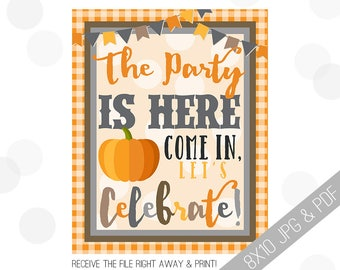 Pumpkin Party Printable Sign | Pumpkin Welcome Sign | Fall Door Sign | Fall Party Welcome | Halloween Party | Halloween Birthday |