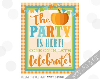 Pumpkin Party Printable Sign | Pumpkin Welcome Sign | Fall Door Sign | Fall Party Welcome | Little Pumpkin Party | Pumpkin Birthday Decor |