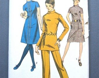 ON SALE Vintage Simplicity 9063 OnePiece Dress Tunic and Pants Sewing Pattern   Bust 36 inches