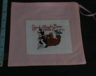 Pink Drawstring Pouch with X-Stitched Patch With Cat and Bear Bird Says Good Friends Bear Their Souls