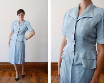 1940s Light Blue Summer Suit - M