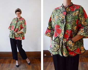 1950s Floral Quilted Bed Jacket / Maternity Bed Jacket / Swing Bed Jacket - M