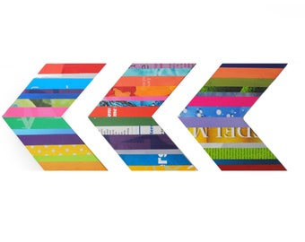 set of 3 CHEVRON wall art - made from recycled magazines, you can choose your own color, colorful, unique,office decor, strips, pop of color