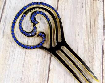 Antique Art Nouveau Celluloid Comb with Blue Rhinestones