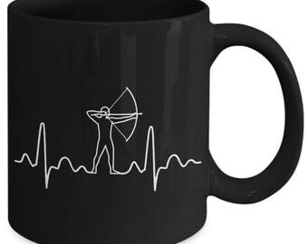 Archery Heartbeat Bow Arrow Coffee Mug