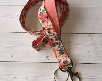 Rosa peach Lanyard / ID Holder with lobster claw clasp - coral  teachers gift floral lanyard flower lanyard