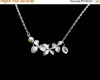 ON SALE Bridal Necklace, Set of 4 Silver Orchid Necklace with Initial,