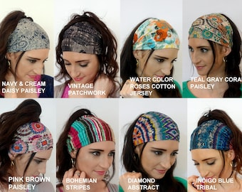 Two Headbands Wide Stretch Headband Choose ANY TWO - Head Wrap Yoga Workout HeadBand Cotton Jersey Hair Wrap Wide  Turband- 40 Colors