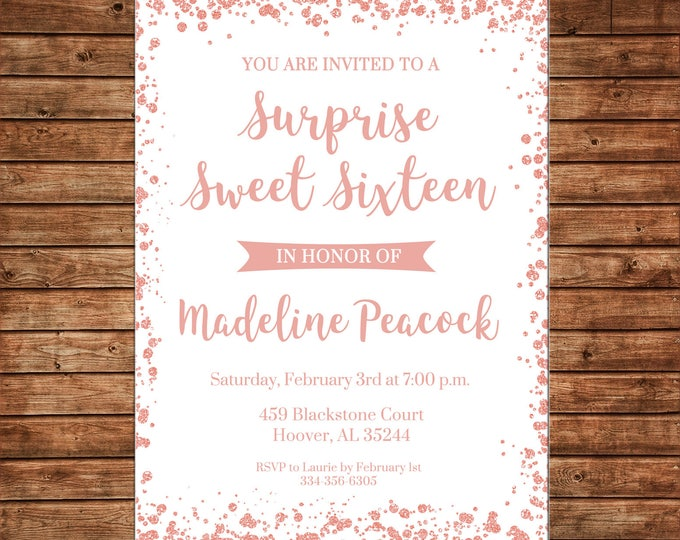 Invitation Rose Gold Glitter Confetti Shower Wedding Birthday Party - Can personalize colors /wording - Printable File or Printed Cards