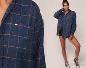Tommy Hilfiger Shirt 90s Checkered Shirt Blue Plaid Tommy Jeans Preppy Grunge Button Up down 1990s Vintage Long Sleeve Large