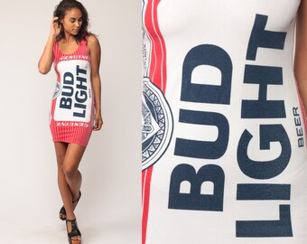 Budweiser Dress 90s Bodycon Dress BUD LIGHT Mini Spell Out Body Con Vintage Tank Dress Spandex 1990s Sleeveless Party Dress Medium