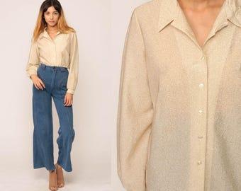 Gold Shirt Metallic Blouse 70s Hippie Disco Shirt 1970s Bohemian Button Up Vintage Long Sleeve Shirt Medium Large