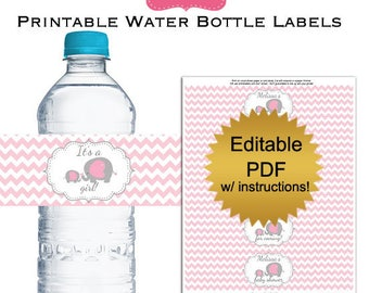 DIY editable printable water bottle labels PDF (No.35p) gray elephant girl baby shower favors Digital File