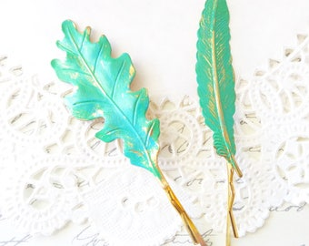 Turquoise Patina Oak Leaf Hair Pin - Turquoise Patina Feather Hair Pin - Oak Leaf Bobby Pin - Feather Bobby Pin - Rustic Woodland Leaf Pins