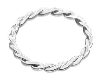 Sterling silver twist ring, stacking braided ring