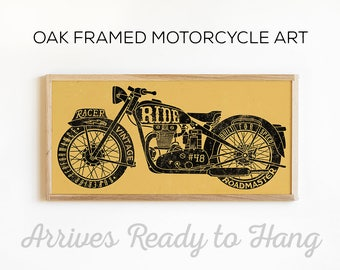 Vintage Motorcycle Art - Motorcycle Wall Decor - Custom Motorcycle Print - Wood Signs - Wood Wall Art - Wood Print - Man Cave Sign Art Decor